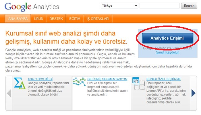 Google Analytics Giriş